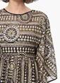 Network Uzun Desenli Şifon Elbise Siyah